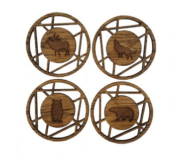 Artistic Design Elk, Bear, Wolf and Owl Coasters - Pack of 4